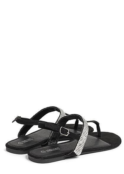 Hailys Damen Schuh Sandale Zehensteg Deko Plättchen Glitzer schwarz silber