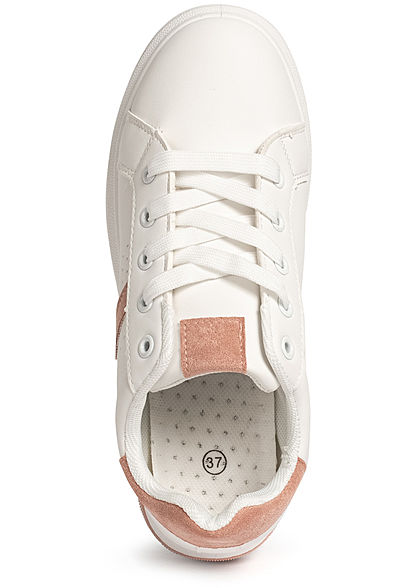 Seventyseven Lifestyle Damen Schuh Kunstleder Plateau Sneaker weiss pink