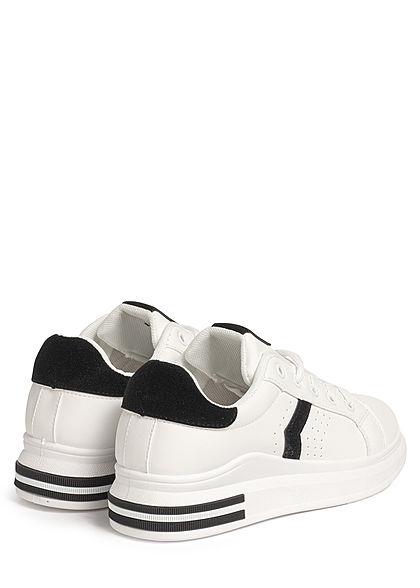 Seventyseven Lifestyle Damen Schuh Kunstleder Plateau Sneaker weiss schwarz