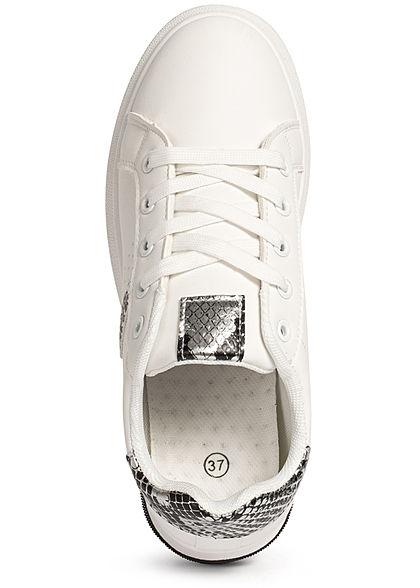 Seventyseven Lifestyle Damen Schuh Kunstleder Plateau Sneaker weiss snake silber