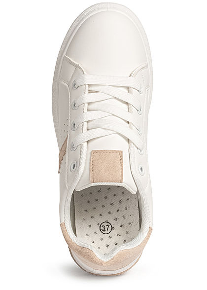 Seventyseven Lifestyle Damen Schuh Kunstleder Plateau Sneaker weiss beige