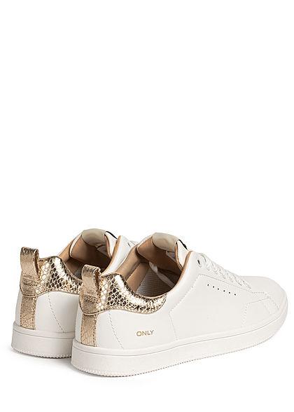 ONLY Damen Schuh Kunstleder Sneaker 2-Tone Nahtdetails weiss gold