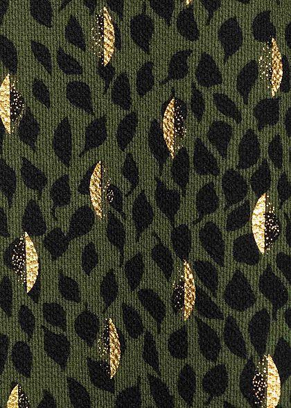 ONLY Damen NOOS Blusen Top Zipper hinten Blätter Print kalamata oliv grün gold