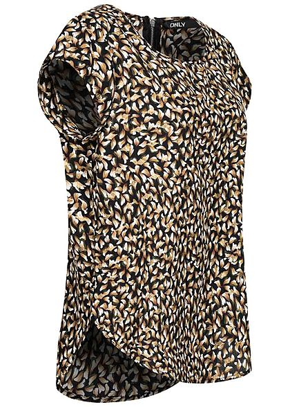 ONLY Damen NOOS Blusen Top Zipper hinten Lurex All Over Print schwarz gold braun