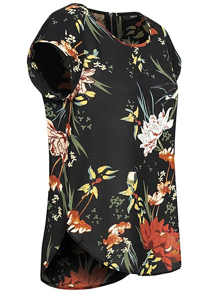 ONLY Damen NOOS Blusen Top Zipper hinten Floraler Print schwarz