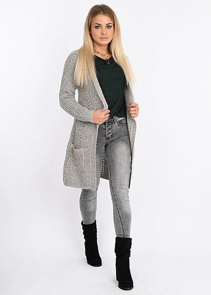 ONLY Damen NOOS Grobstrick Cardigan 2-Pockets hell grau melange