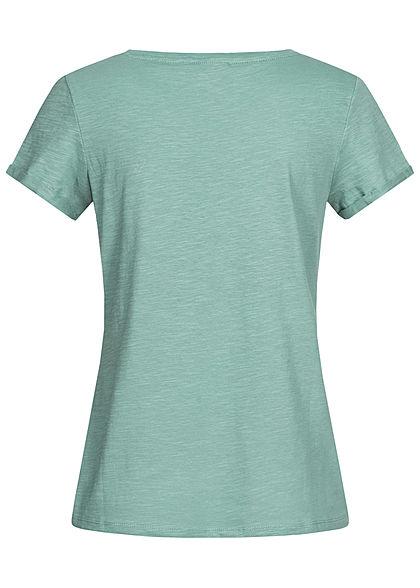 TOM TAILOR Damen T-Shirt Streifen Muster mineral stone hell blau