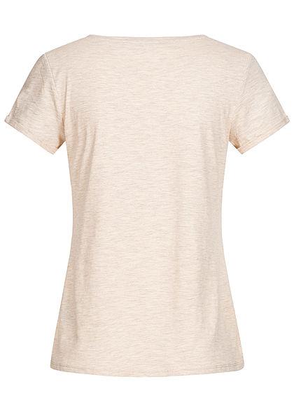 TOM TAILOR Damen T-Shirt Streifen Muster creme beige melange