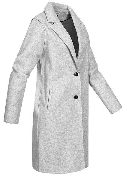 ONLY Damen NOOS Mantel Jacke Jacke Knopfleiste 2-Pockets hell grau melange