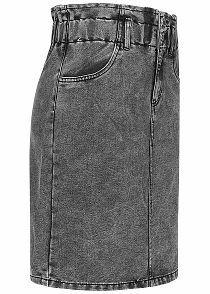 ONLY Damen Mini Paperbag Jeans Rock 2-Pockets High-Waist grau denim