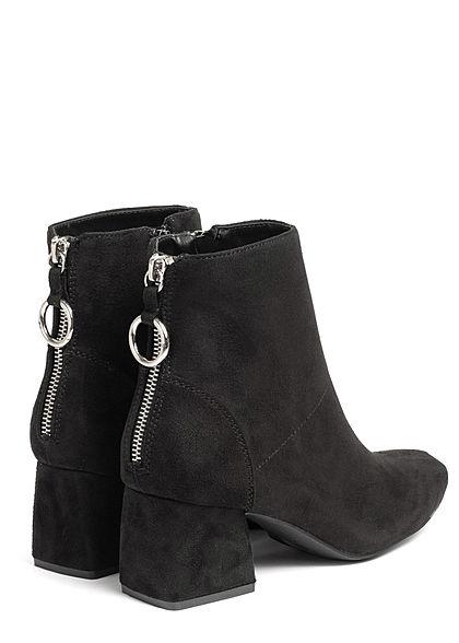 ONLY Damen Schuh Stiefelette 2-Zipper Absatz 5cm Velour Optik schwarz