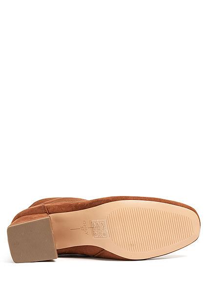 ONLY Damen Schuh Stiefelette 2-Zipper Absatz 5cm Velour Optik rust braun