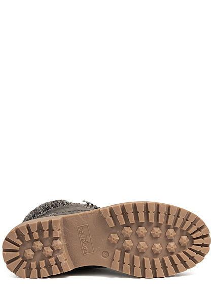 Tom Tailor Damen Schuh Worker Boots Stiefelette Kunstleder coal dunkel grau