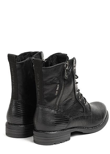 Tom Tailor Damen Schuh Boots Stiefelette Kunstleder Deko Zipper außen schwarz