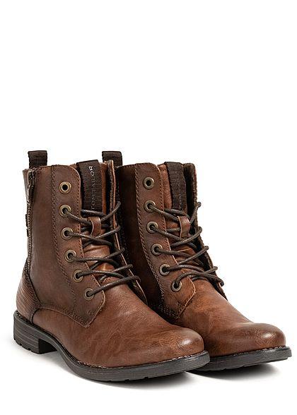 Tom Tailor Damen Schuh Boots Stiefelette Kunstleder Deko Zipper außen cognac braun