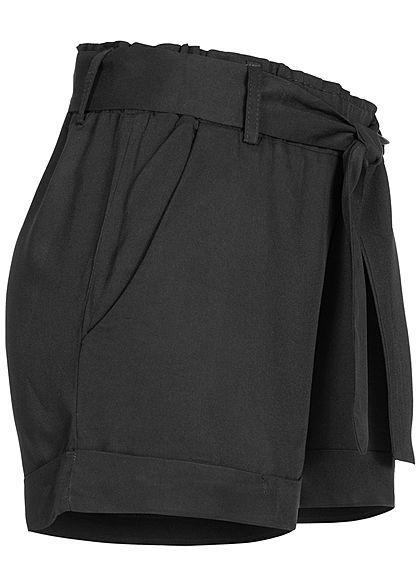 Hailys Damen Viskose Sommer Shorts inkl. Bindegürtel schwarz