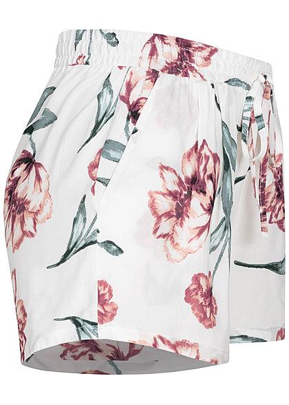 Hailys Damen Viskose Sommer Shorts Deko Tunnelzug Floraler Print off weiss