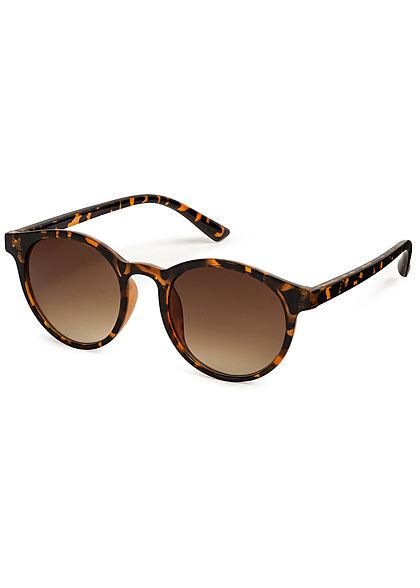 Hailys Damen Ovale Sonnenbrille UV-400 Cat.3 Leo Print braun