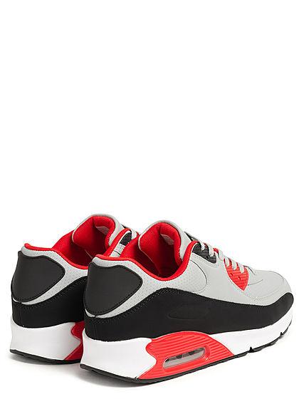Seventyseven Lifestyle Herren Schuh Colorblock Kunstleder Sneaker rot grau schwarz