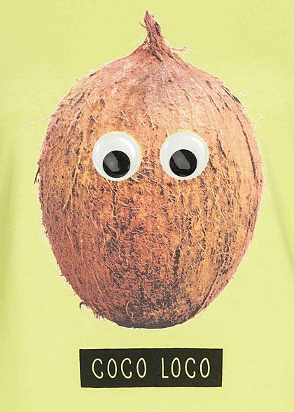 ONLY Damen T-Shirt Coco Loco Kokonuss Print mit  Applikation sunny lime gelb