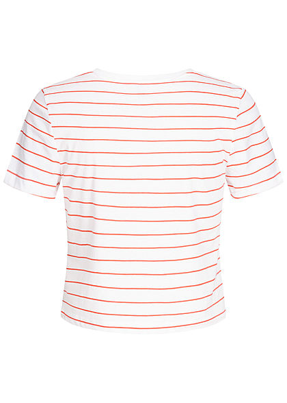 ONLY Damen Cropped T-Shirt Papagei Patch mit Streifen bright weiss coral pink