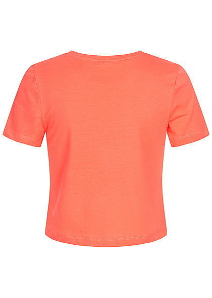 ONLY Damen Cropped T-Shirt Papagei Patch Welcome Print deep sea coral dunkel pink
