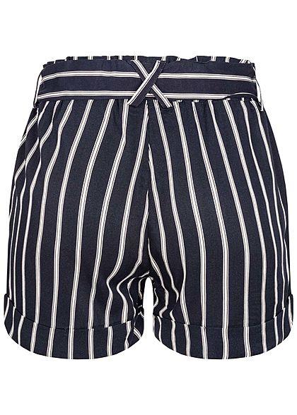 Hailys Damen Paperbag Sommer Shorts inkl. Bindegürtel 2-Pockets Streifen navy weiss