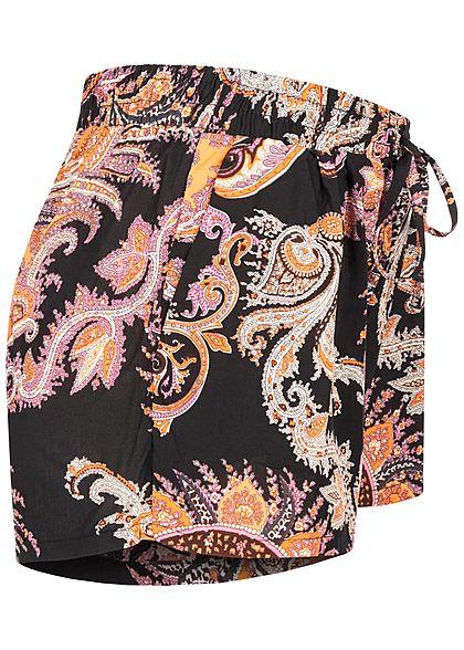 Hailys Damen Viskose Sommer Shorts Deko Tunnelzug Paisley Print schwarz pink orange