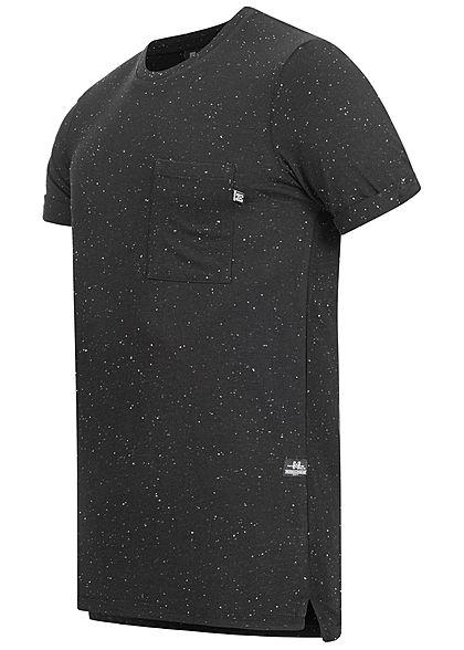 Hailys Herren Melange T-Shirt Brusttasche Punkte Muster schwarz weiss