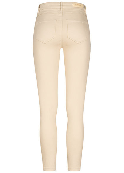 ONLY Damen Ankle Jeans Hose High-Waist 5-Pockets ecru beige