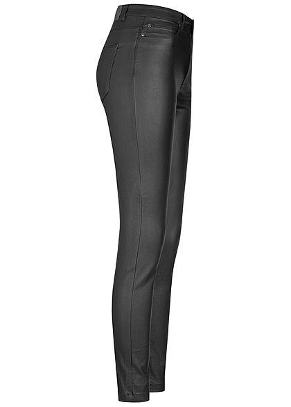 ONLY Damen Skinny Jeans Hose High-Waist beschichtet 5-Pockets schwarz