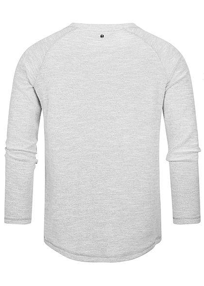 Hailys Herren Struktur Melange Pullover Sweater hell grau
