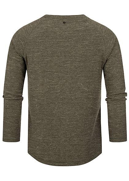 Hailys Herren Struktur Melange Pullover Sweater khaki grün