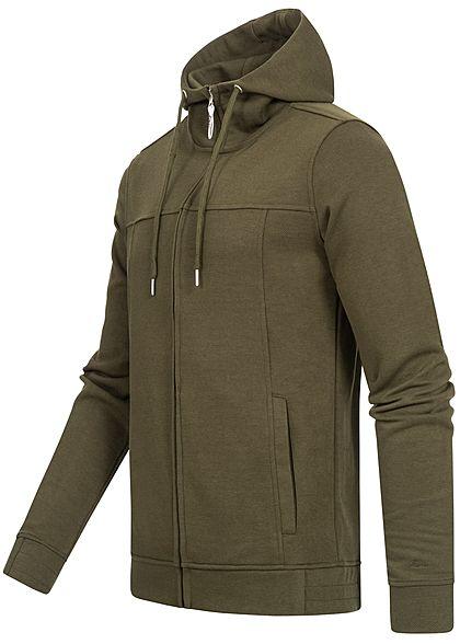 Hailys Herren Struktur Zip Hoodie Kapuze Zipper 2-Pockets hoher Kragenverschluss khaki