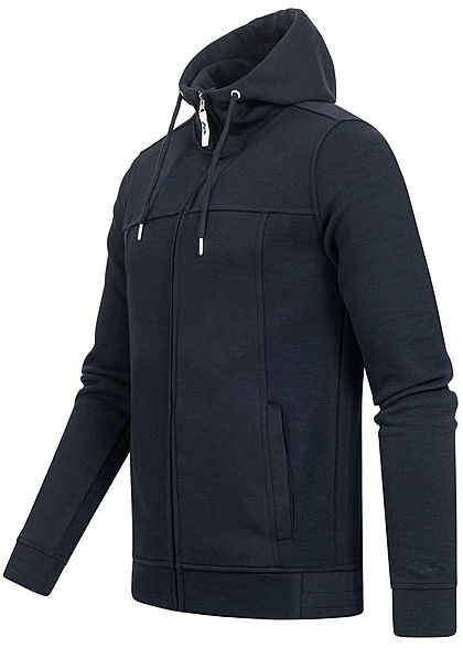 Hailys Herren Struktur Zip Hoodie Kapuze Zipper 2-Pockets hoher Kragenverschluss navy