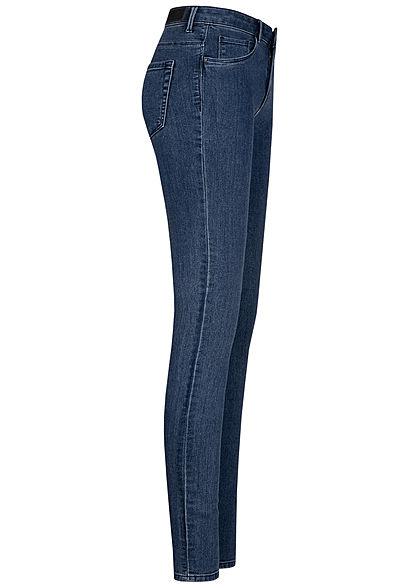 ONLY Damen Skinny Jeans Hose Regular Waist 5-Pockets dunkel blau denim