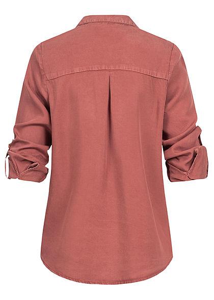 ONLY Damen Hemd Brusttaschen apple butter rot