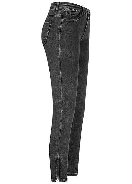 ONLY Damen Ankle Jeans Hose Regular Waist 5-Pockets washed schwarz denim