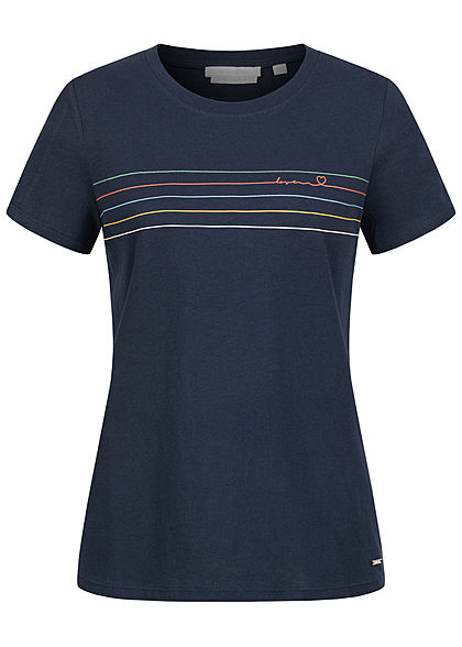 Tom Tailor Damen T-Shirt Multicolor Streifen Print vorn navy blau