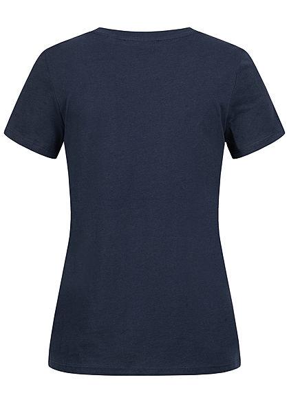 Tom Tailor Damen T-Shirt Multicolor Streifen Print vorn navy blau