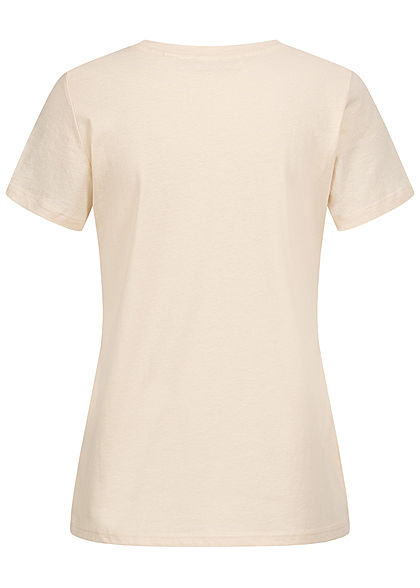 Tom Tailor Damen T-Shirt Multicolor Streifen Print vorn soft creme beige