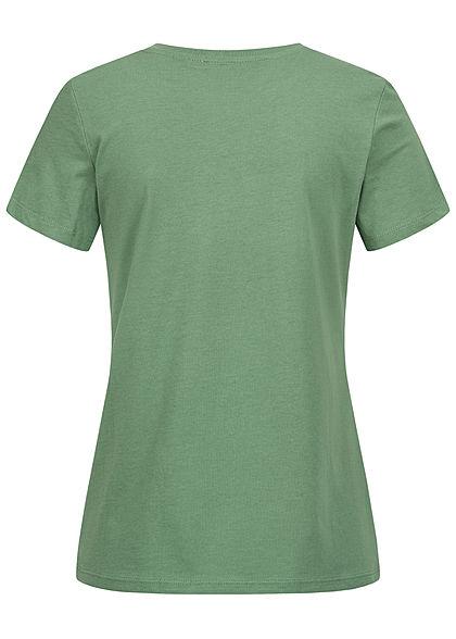 Tom Tailor Damen T-Shirt Multicolor Streifen Print vorn vintage grün