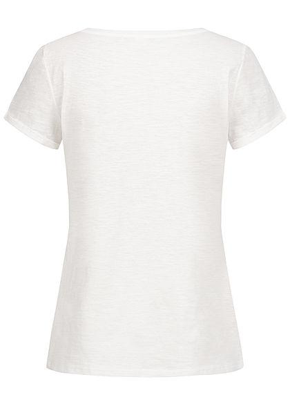 Tom Tailor Damen 2-Tone T-Shirt Streifen Muster vorn weiss navy blau