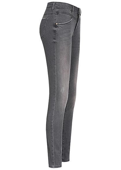Tom Tailor Damen Skinny Jeans Hose 5-Pockets leichter used Crash Look dunkel grau denim