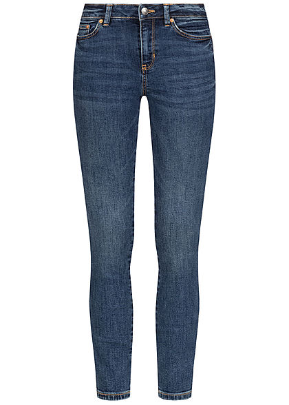 Tom Tailor Damen Extra Skinny Ankle Jeans Hose 5-Pockets Regular Waist dunkel blau den