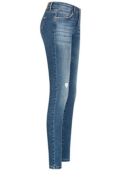 ONLY Damen NOOS Shape-Up Skinny Jeans Hose Destroy Look 5-Pockets medium blau den