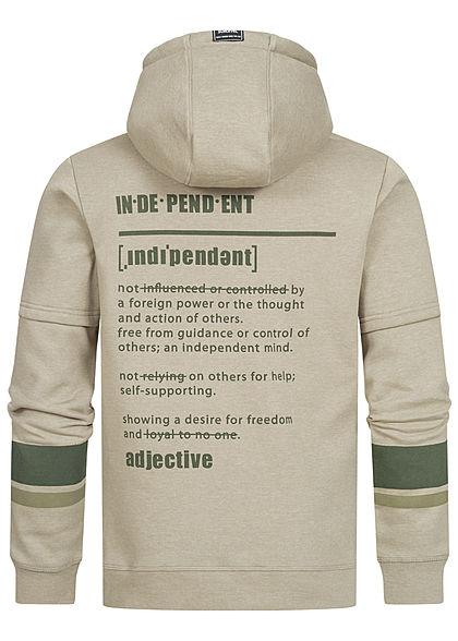 Sublevel Herren 2-Tone Hoodie Kapuze 2-Pockets Statement Print sage grün