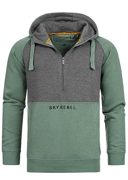 Eight2Nine Herren 2-Tone Half-Zip Hoodie Kapuze Logo by Sky Rebel forest grün grau