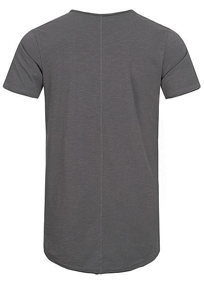 Eight2Nine Herren T-Shirt offene Nähte by Sky Rebel castlerock dunkel grau