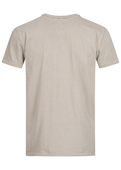 Urban Surface Herren T-Shirt offene Nähte Brusttasche string beige